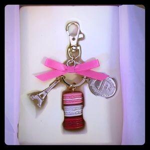 LADUREE Keychain Ring Eiffel Tower Macaron Charm